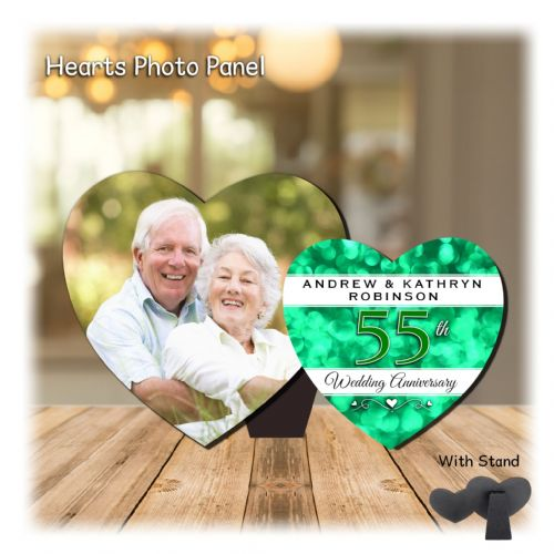 Personalised MDF Hearts Photo Wood Panel Print N15 Emerald 55th  Wedding Anniversary Keepsake Gift